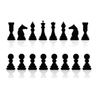 Siluetas de piezas de ajedrez