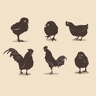 Siluetas de pollos