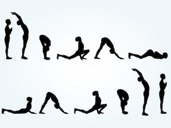 Siluetas de posturas de yoga