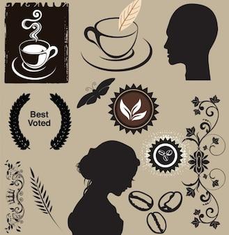 Siluetas de tema del café
