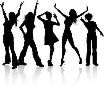Siluetas de un grupo bailando