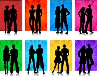 Siluetas de varias parejas