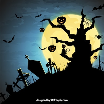 Siluetas del cementerio de Halloween