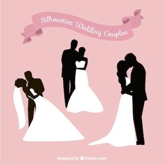 Siluetas románticas de parejas de boda