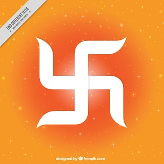 símbolo de la suerte Ram Navami festival de fondo naranja