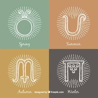 Símbolos de estaciones dibujados a mano