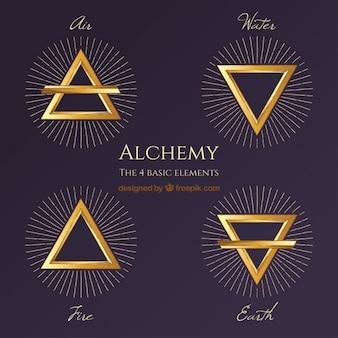 Símbolos de triángulos dorados con rayos dibujados a mano