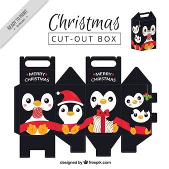 Simpática caja de pingüino navideño