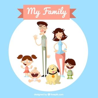 Simpática familia con mascota