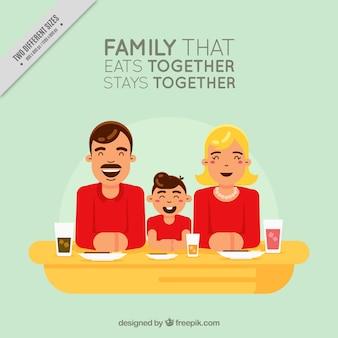 Simpática familia vintage con mensaje inspirador