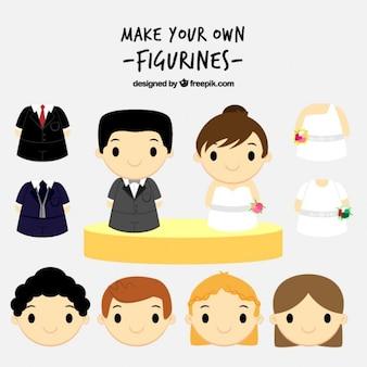 Simpática pareja de boda para crear tus figuritas