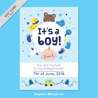 Simpática tarjeta de bienvenida de bebé con accesorios adorables