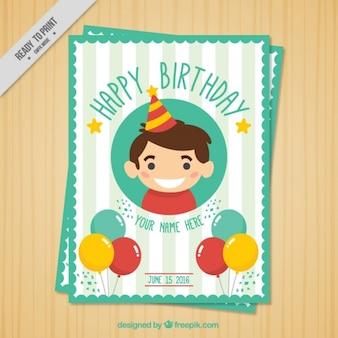 Simpática tarjeta de cumpleaños con un chico