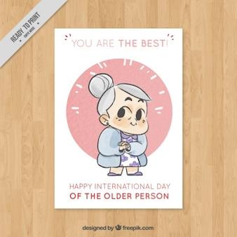 Simpática tarjeta de felicitación para el día internacional de las personas mayores
