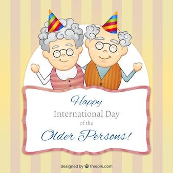 Simpática tarjeta de pareja de personas mayores