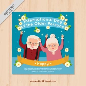 Simpática tarjeta del día internacional de los mayores