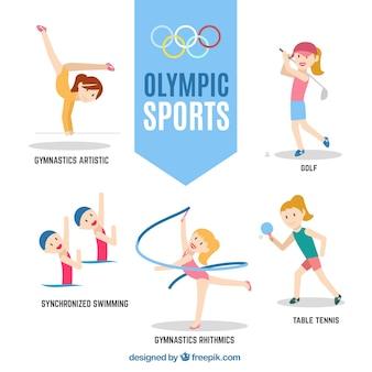 Simpáticas chicas deportivas preparadas para los juegos olímpicos