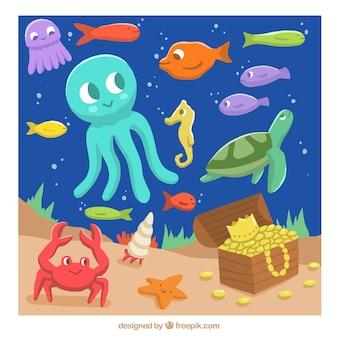 Simpáticas criaturas marinas en el fondo del oceano