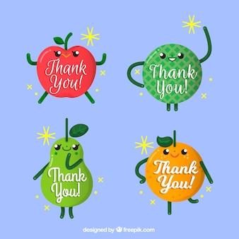 Simpáticas frutas con mensaje de agradecimiento