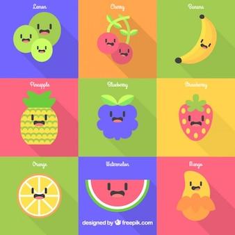 Simpáticas frutas en diseño plano