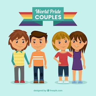 Simpáticas parejas celebrando el día del orgullo