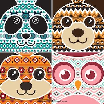 Simpáticas tarjetas de animales étnicos