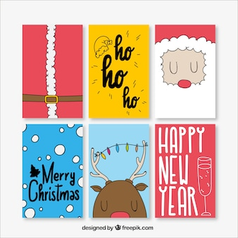 Simpáticas tarjetas de navidad dibujadas a mano