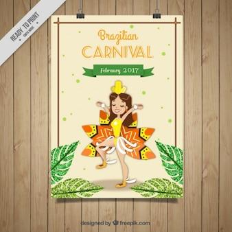 Simpático cartel de carnaval de brasil con bailarina
