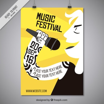 Simpático cartel de festival de música con cantante