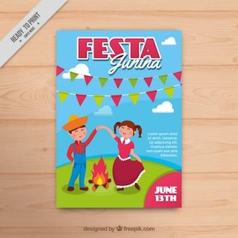 Simpático folleto de fiesta junina con una pareja bailando
