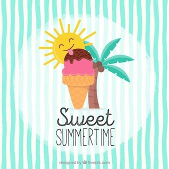 Simpático fondo con sol comiendo un helado