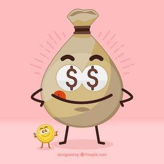 Simpático fondo de bolsa con moneda
