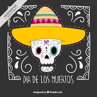 Simpático fondo de calavera mexicana con sombrero