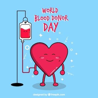 Simpático fondo de corazón donando sangre