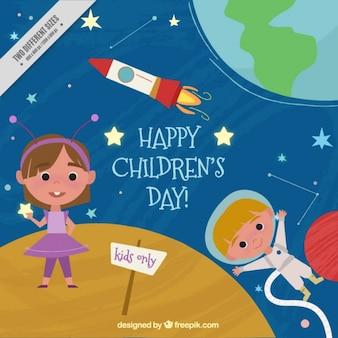 Simpático fondo de niños en el espacio