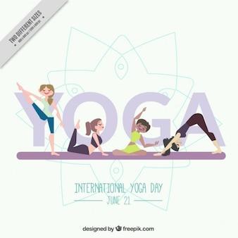 Simpático fondo de yoga con chicas haciendo posturas