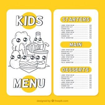 Simpático menú de niños con bocetos de comida