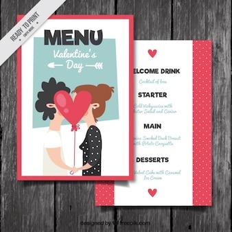 Simpático menú de san valentín con pareja besándose