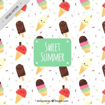 Simpático patrón con helados de colores