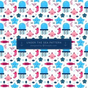 Simpático patrón de criaturas marinas