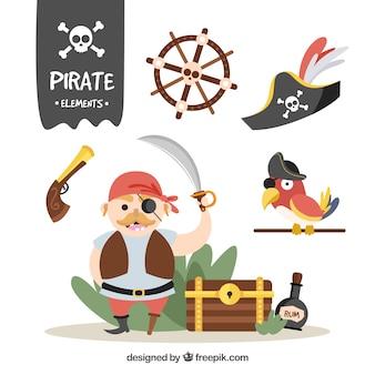 Simpático personaje pirata y otros elementos