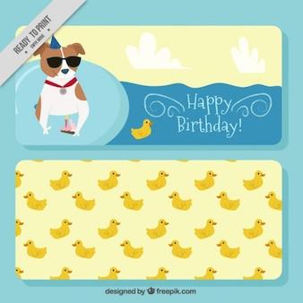 Simpáticos banners de cumpleaños con patos y perro