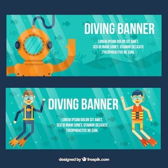 Simpáticos banners de deporte de submarinismo