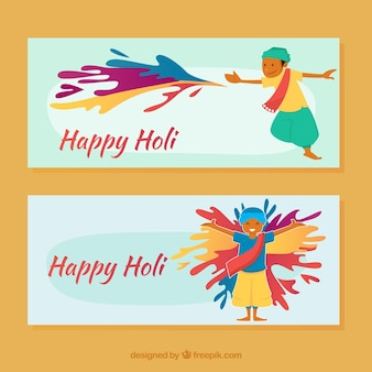 Simpáticos banners de feliz holi