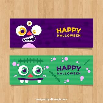 Simpáticos banners de halloween con personajes