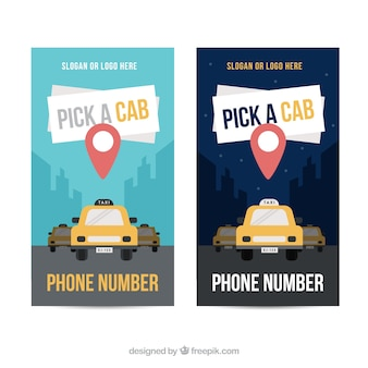 Simpáticos banners de taxi con localizador