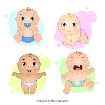 Simpáticos bebés dibujados a mano con diferentes gestos