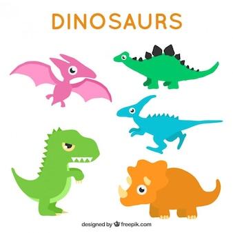 Simpáticos dinosaurios de colores en estilo dibujos animados