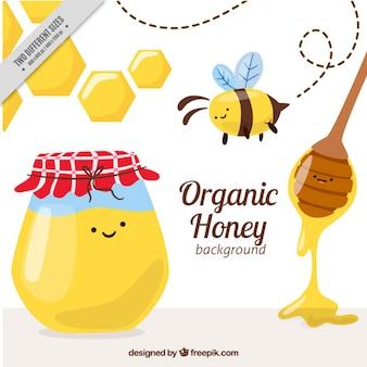 Simpáticos elementos de miel ecológica