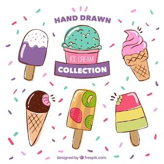 Simpáticos helados de colores dibujados a mano